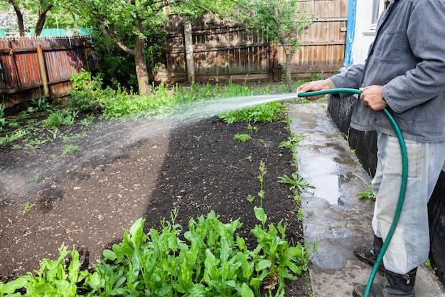 Пожилой мужчина поливает домашний сад возле коттеджа