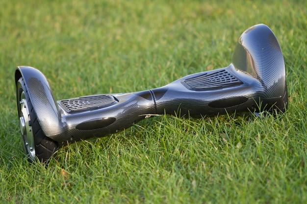 Черный гироскоп в парке на зеленой траве