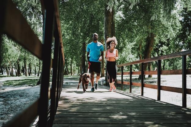 アフリカ系アメリカ人カップルが犬と一緒にジョギング