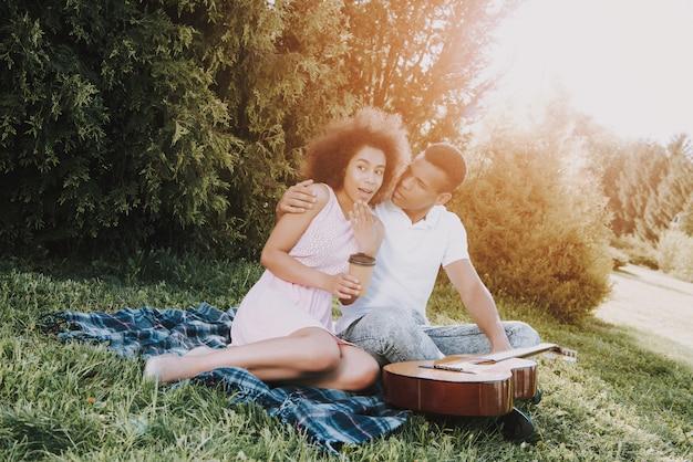 アフリカ系アメリカ人カップルは夏に公園で休んでいます。