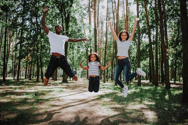 夏の公園で若いスポーティな家族ジャンプが楽しい