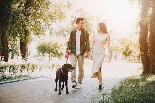 カップルは夏の公園で彼らの犬と一緒に歩いています。