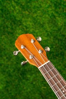 Деревянная акустическая гитара на зеленом фоне