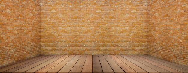 木製の床とグランジスタイルの大きな空の部屋