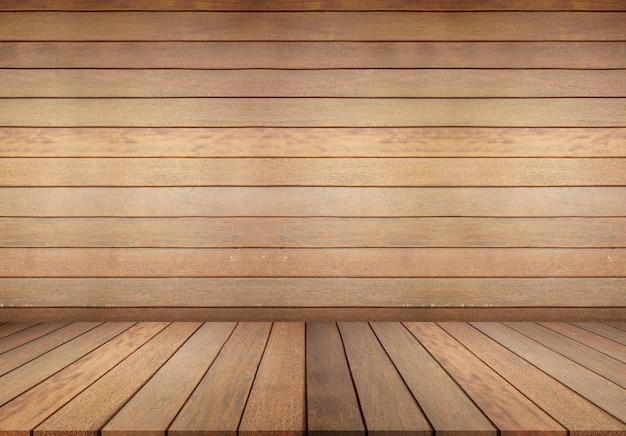 木製の床と木製の壁、背景の空の部屋。木製の床、白い壁とグランジスタイルの大きな空の部屋