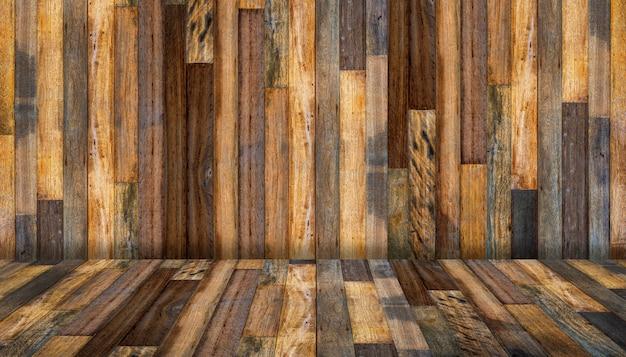 床と壁の古いビンテージ木製テクスチャ背景
