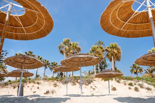 Рид пляжные зонтики, навесы против голубого неба на пляже. бамбуковые зонтики, соломенные зонтики на белом песчаном тропическом побережье. тропическое море пляж береговой линии, летний отдых.