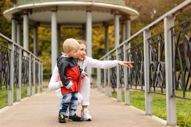 母と息子の秋の公園で遊んで、家族で楽しめます。
