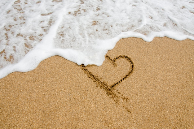 Форма сердца в песке на пляже
