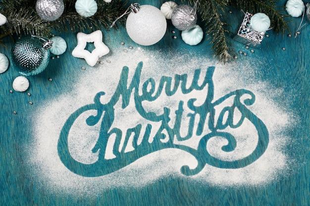 砂糖粉末で作られたメリークリスマスのため息