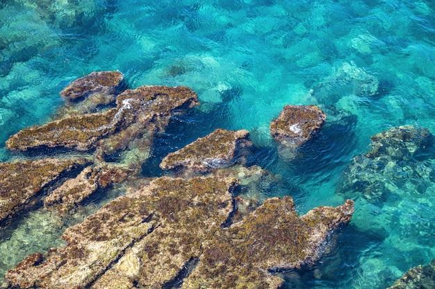 海の海岸と海の景色。イタリア、シチリア島のティレニア海の純粋な青い水。環境の写真。