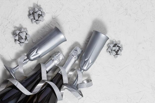 Яркие серебряные серпантины с серпантином, бутылки игристого вина, бокалы для праздничной открытки