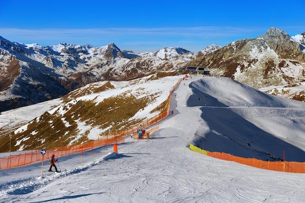 Вид на австрийские альпы. лыжный курорт. лыжи в горах. горнолыжный склон в долине циллер