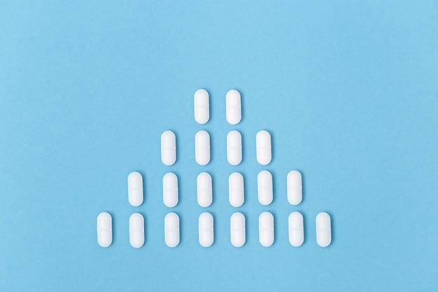 医薬品の薬、カプセルは青い表面に横たわって、ウイルスの分布。健康管理。医療の背景。コピースペース