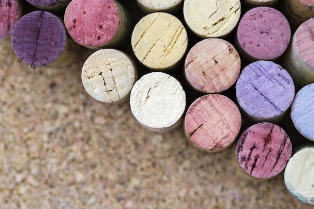 ワインのコルク栓をクローズアップ