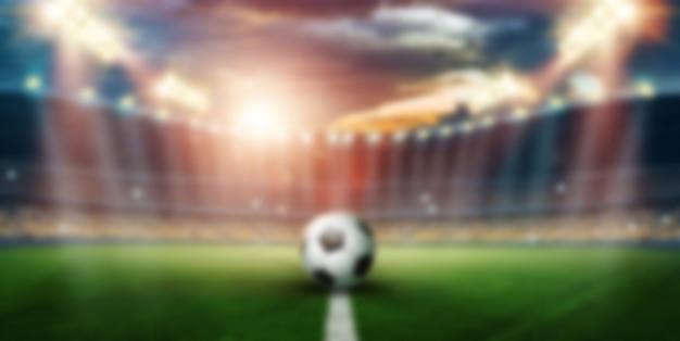 Размыто, стадион в тишине и вспышках, футбольное поле