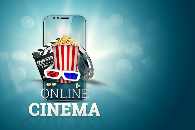 映画、映画の属性、映画、映画、オンライン視聴、ポップコーン、メガネ。