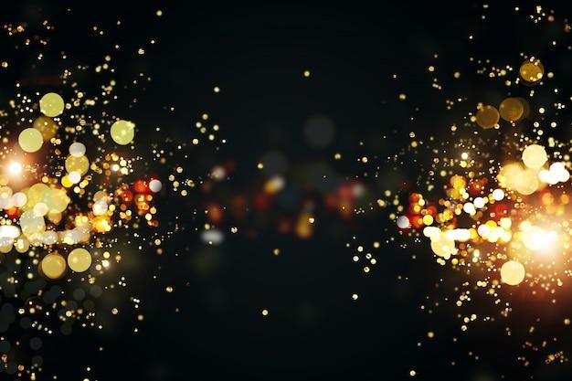 黄金色のライトのボケ味を持つクリスマスの背景。クリスマスのグリーティングカード。