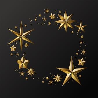 クリスマスカード。金色の星の花輪