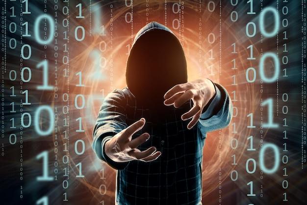 Хакер в капюшоне, хакерская атака, силуэт человека, смешанная техника