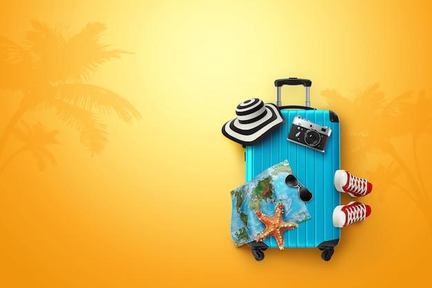 創造的な背景、青いスーツケース、スニーカー、黄色の背景にマップ