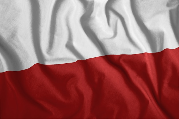 ポーランドの旗が風になびいています
