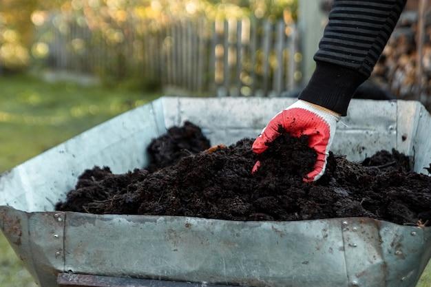 肥料、カントリーシーズンの田舎の車。野菜を植えます。