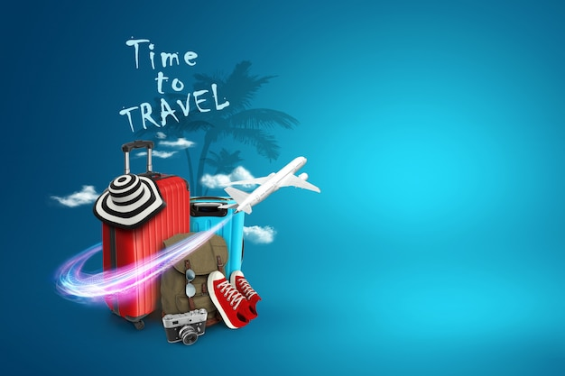 創造的な背景、赤いスーツケース、旅行する碑文の時間、スニーカー、青い背景に飛行機