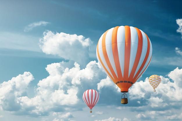 青い空を背景に色とりどりの大きな風船。旅行のコンセプト、夢、新しい感情、旅行代理店。
