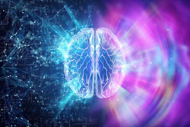 青い背景に人間の脳、半球は論理を担当しています