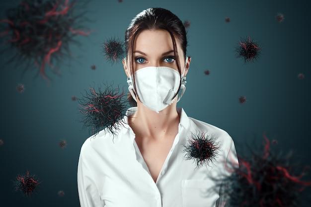 マスクの中の女性は空を飛んでいるウイルスの粒子から保護されています