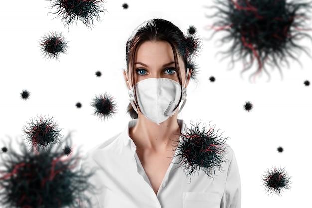 仮面の女性は空中を飛ぶウイルス粒子から身を守る
