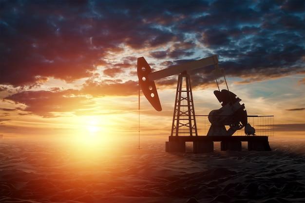 油ポンプ、美しい夕日の壁に石油リグ産業用石油生産。技術コンセプト、化石エネルギー源、炭化水素。ミクストメディアのコピースペース。