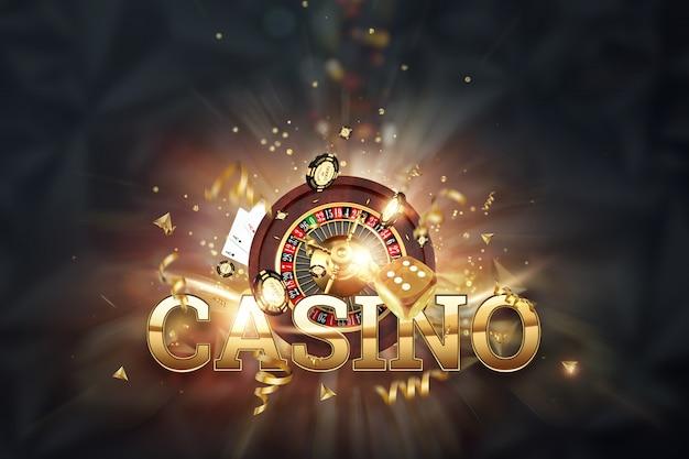 Надпись казино, рулетка, игральные кости, карты, фишки на темном фоне