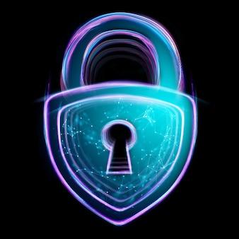 ホログラムロックは、黒の背景に分離されました。セキュリティ、安全、データのプライバシー、データ保護、暗号通貨、サイバーオタクの概念。