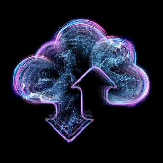 Концепция облачных вычислений - подключиться к облаку. бизнесмен или информационный технолог со значком облачных вычислений.