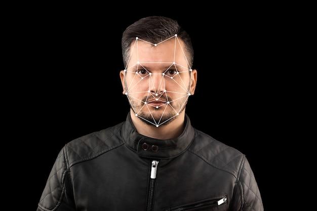 Мужское лицо, биометрическая проверка