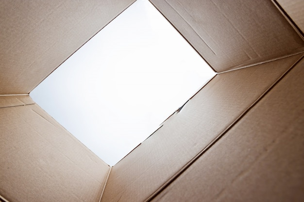 Распаковка, вскрытая картонная упаковка от побега изнутри коробки