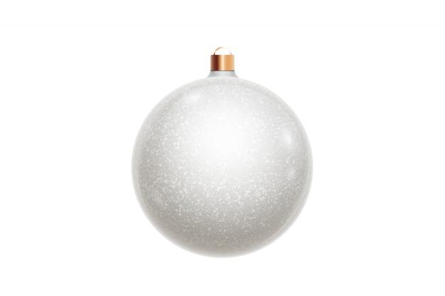 白いクリスマスボールは、白い背景で隔離。クリスマスの飾り、クリスマスツリーの飾り。