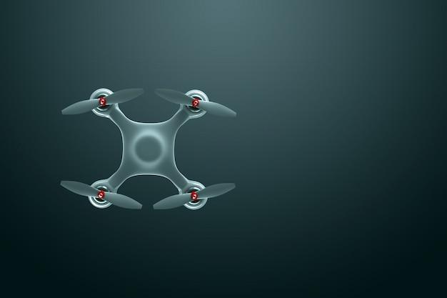 Дрон, белый квадрокоптер на темном фоне с копией пространства