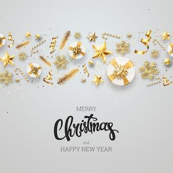 創造的な背景、明るい背景にお祝い要素から成っているクリスマスの装飾的なボーダー。