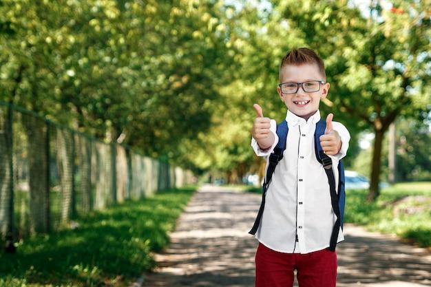 Мальчик из начальной школы с рюкзаком на улице