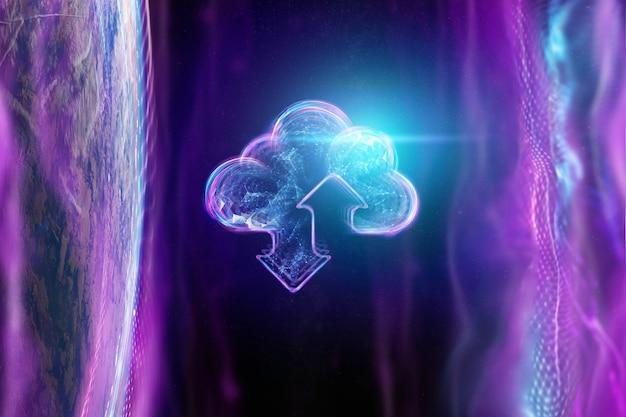地球の背景に雲のホログラム