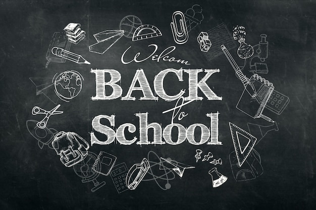 Надпись снова в школу, фон мелом каракули на доске