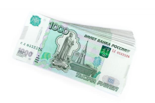 Русские деньги рубли, тысяча, белый фон