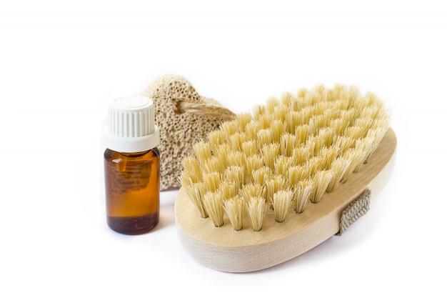 Органическая натуральная косметика, масло, кисть, пемза