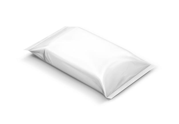 空白の包装紙が分離されたポーチを拭く