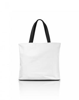 空白の白いキャンバストートバッグ