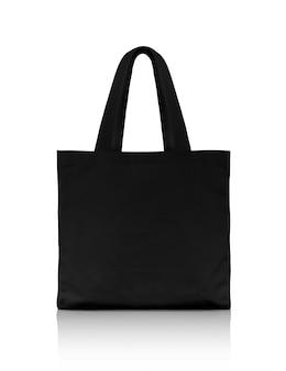 Пустая черная сумка для покупок из ткани на белом фоне