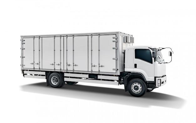 白い輸送貨物トラックまたはコンテナ自動車トレーラー